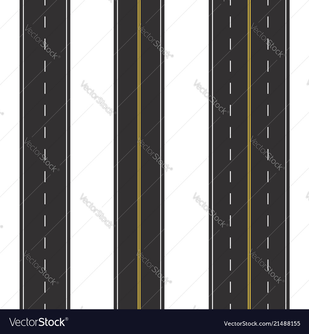 Set seamless road marking on a white isolated