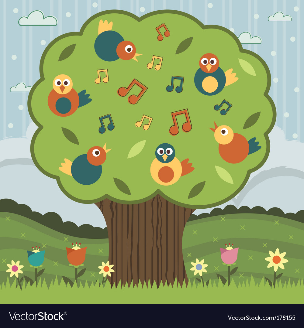 Song bird tree vector image