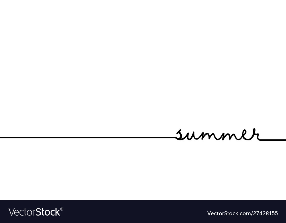 Summer - continuous one black line with word