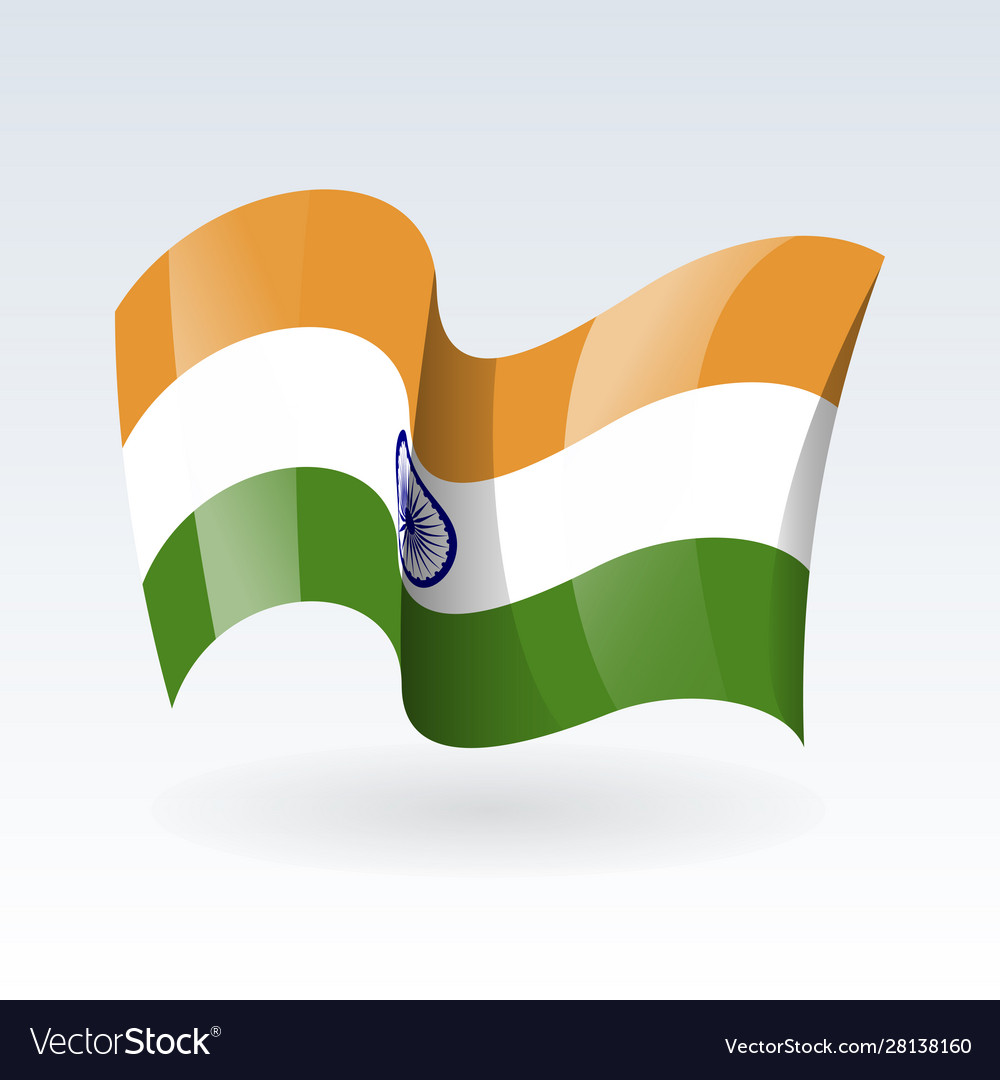 3d waving flag india isolated on white