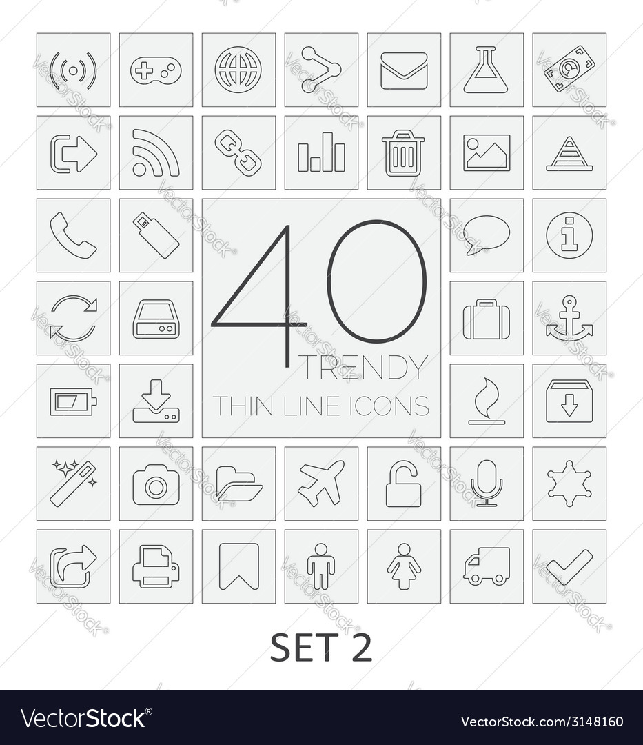 40 Thin Line Icons Set 2