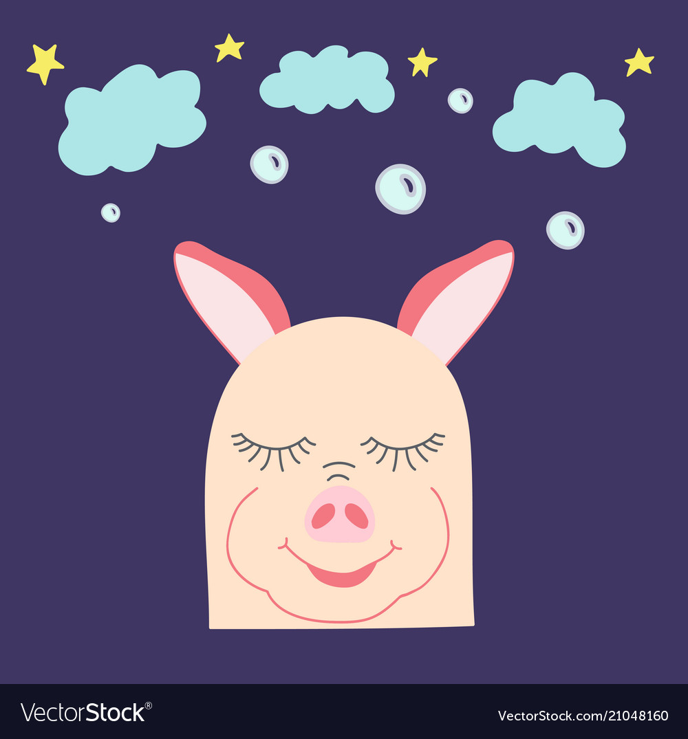Amusing hand-drawn pig with clouds and stars
