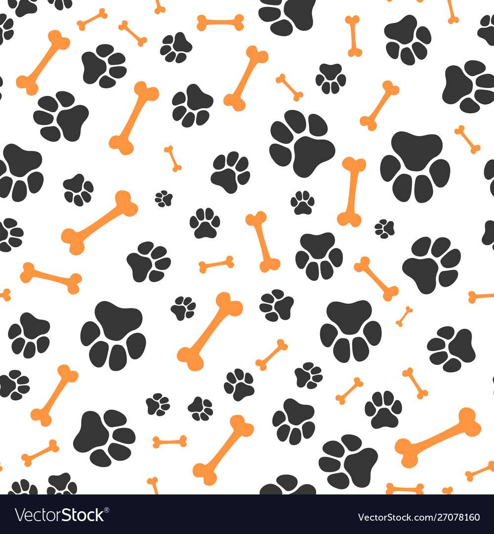 Animal paw steps seamless pattern pet