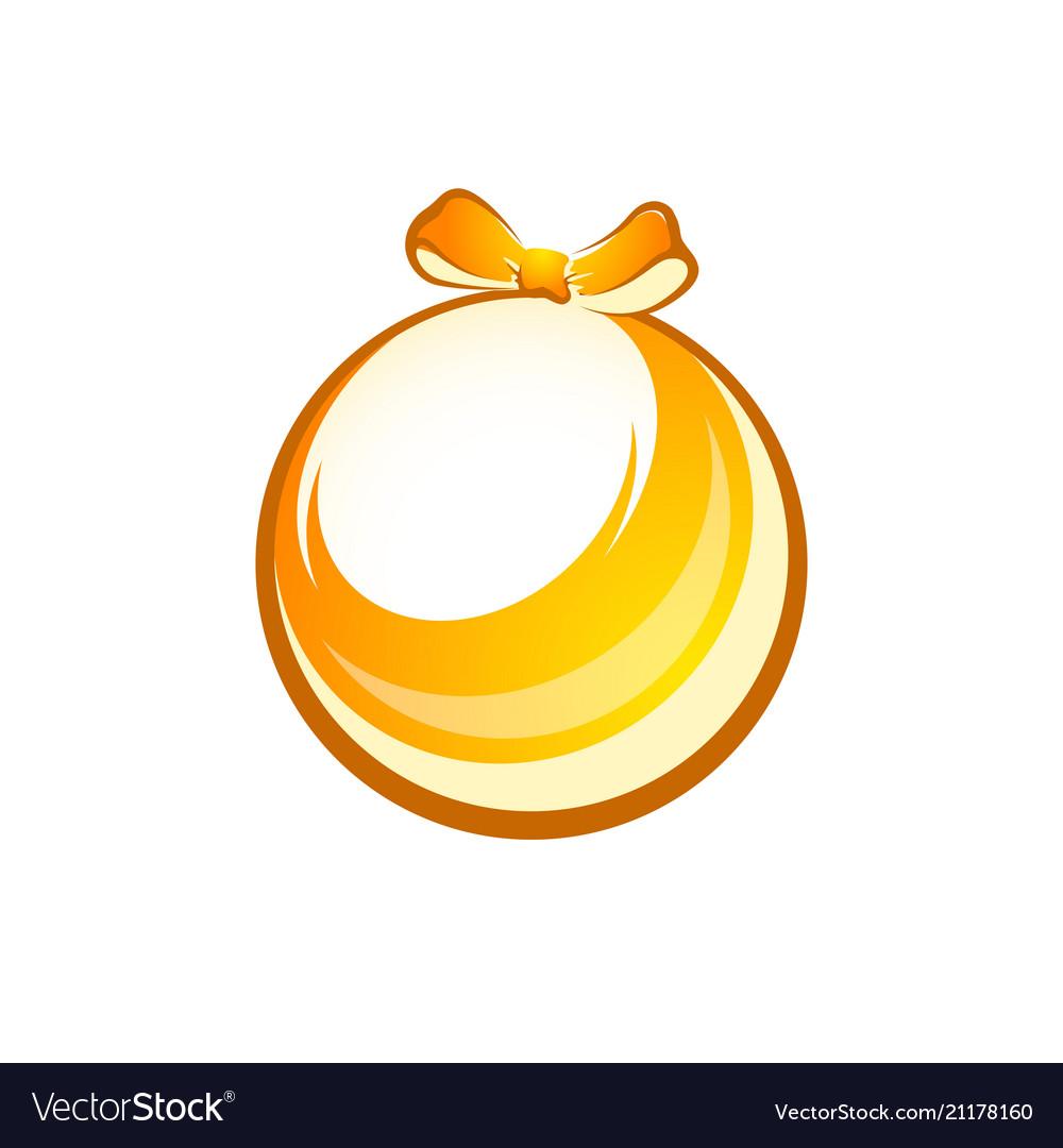 Decorative xmas gift golden shiny ball isolated on