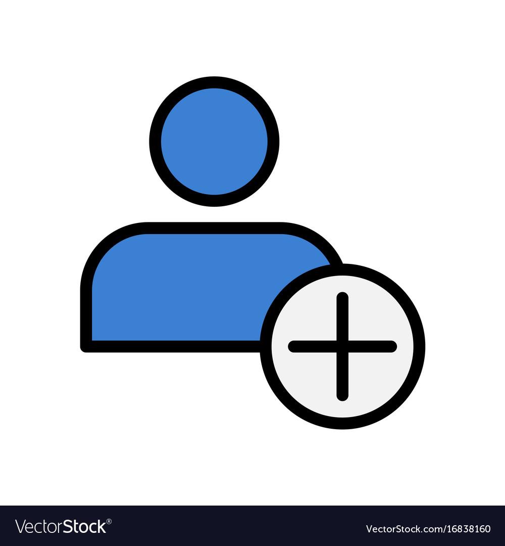 Flat icon of add friend adding user symbol