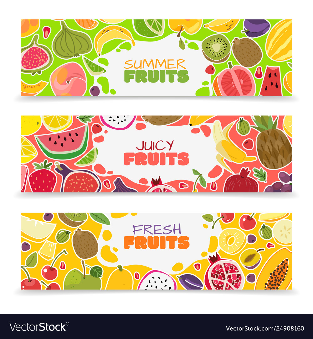 Fruits banners colorful fruit design summer