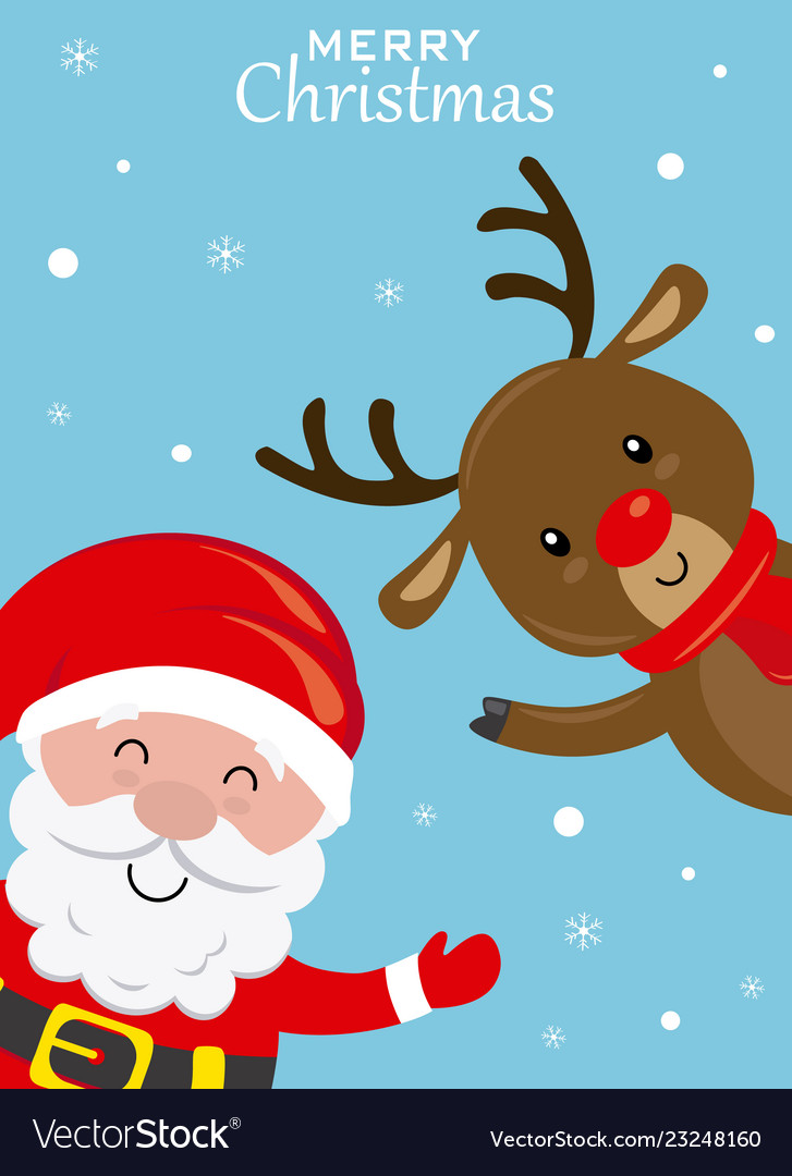 Funny christmas card santa claus and reindeer