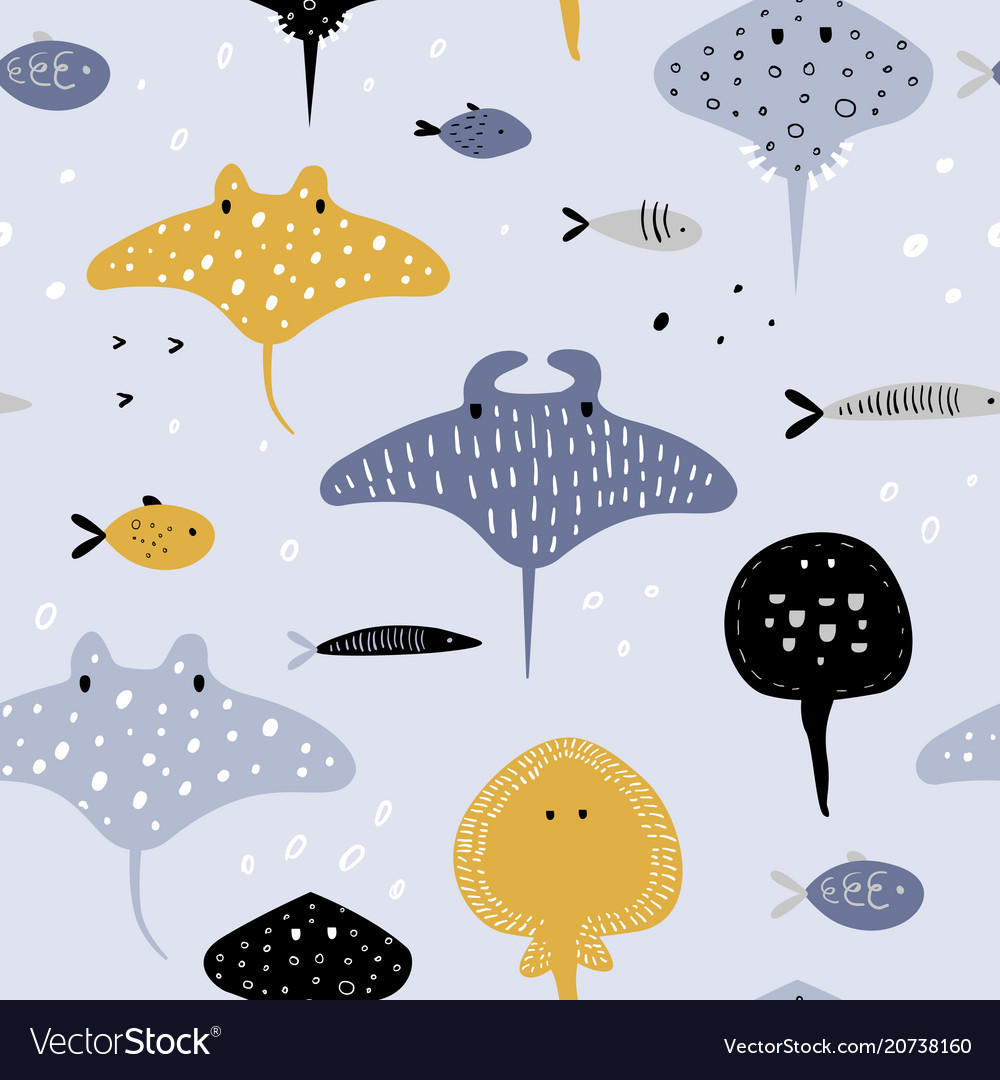 Hand drawn seamless pattern with fish