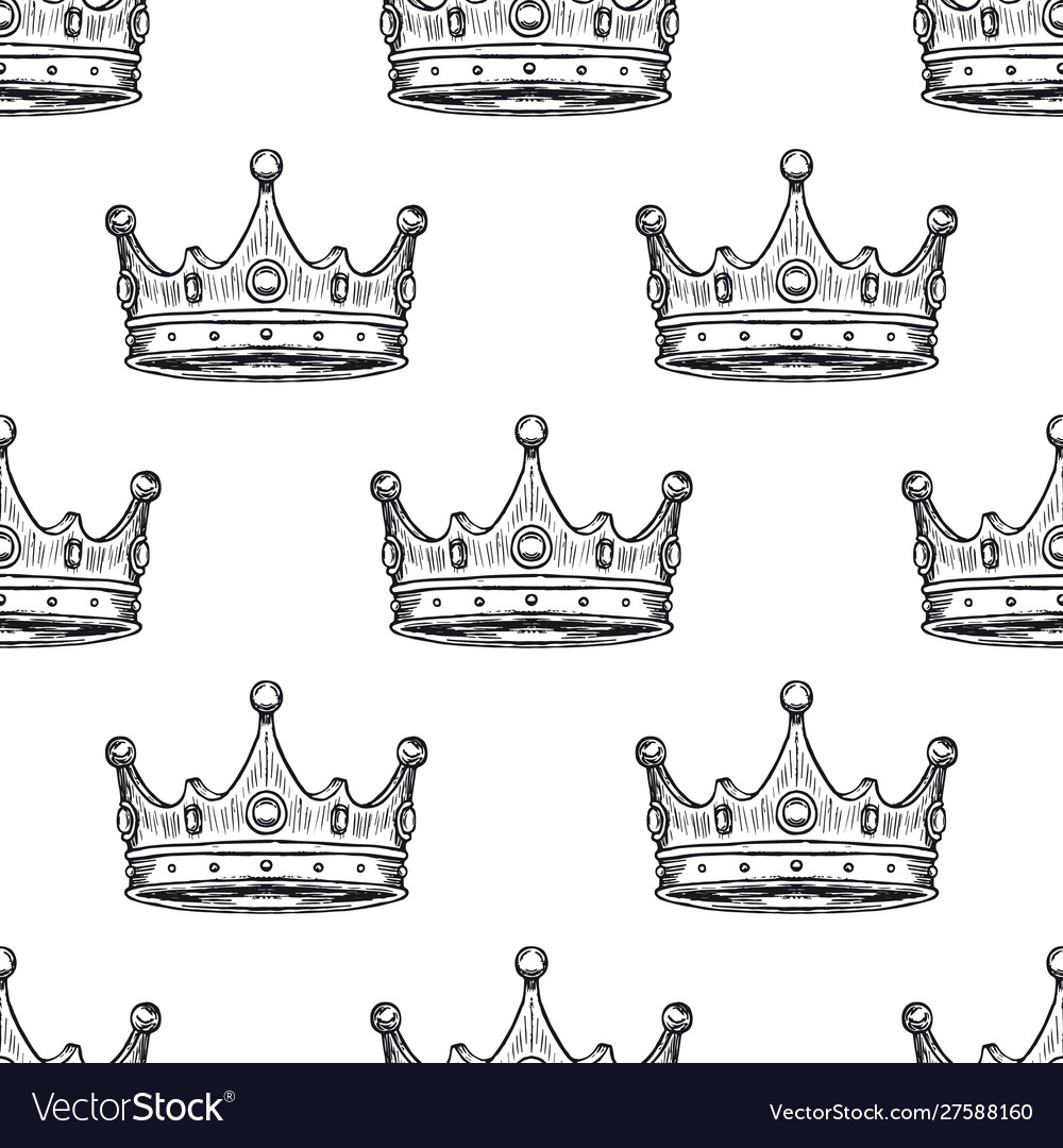 Luxury crown pattern seamless background hand