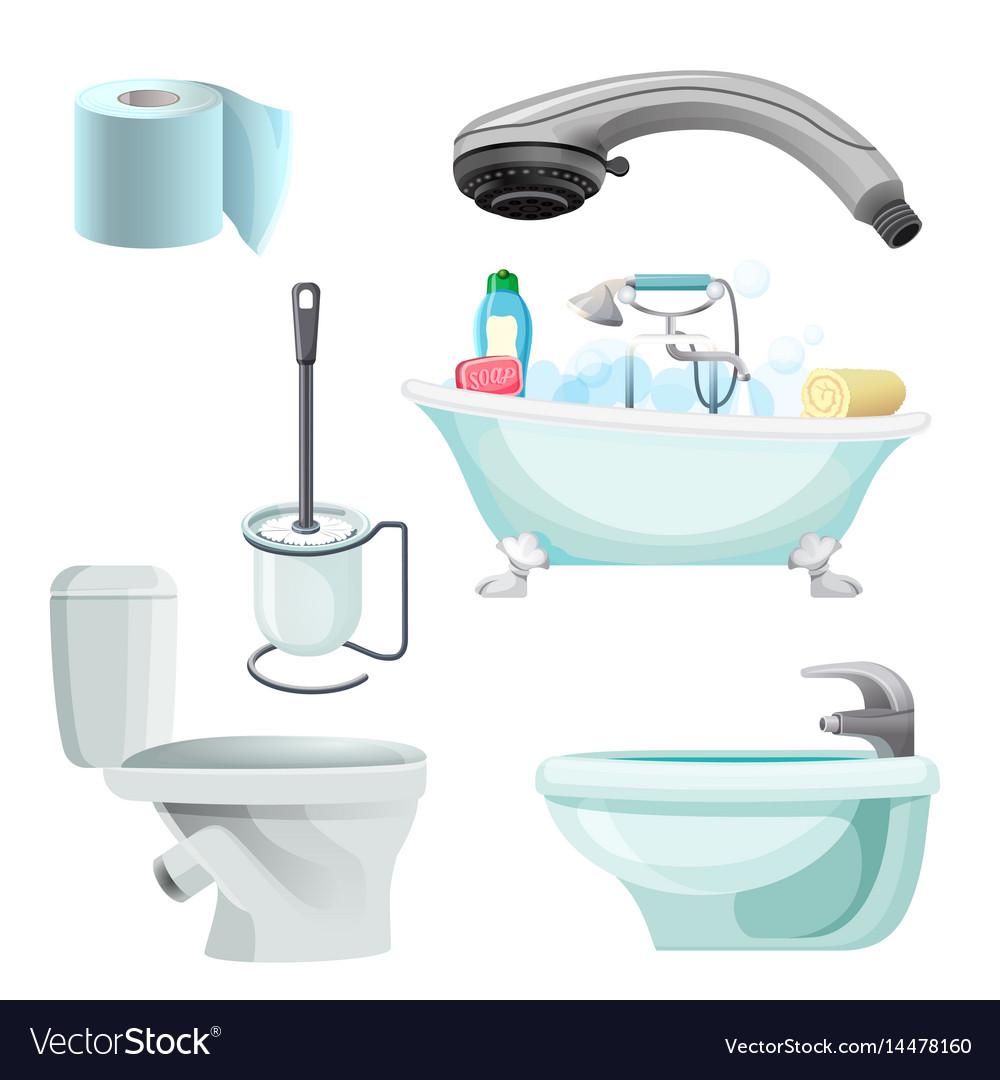 Set of bathroom equipment realistic