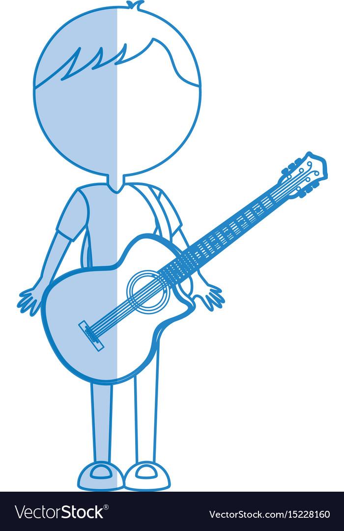 Shadow guitar body man cartoon vector image