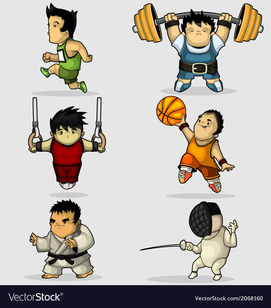 Six characters engaged in various sports