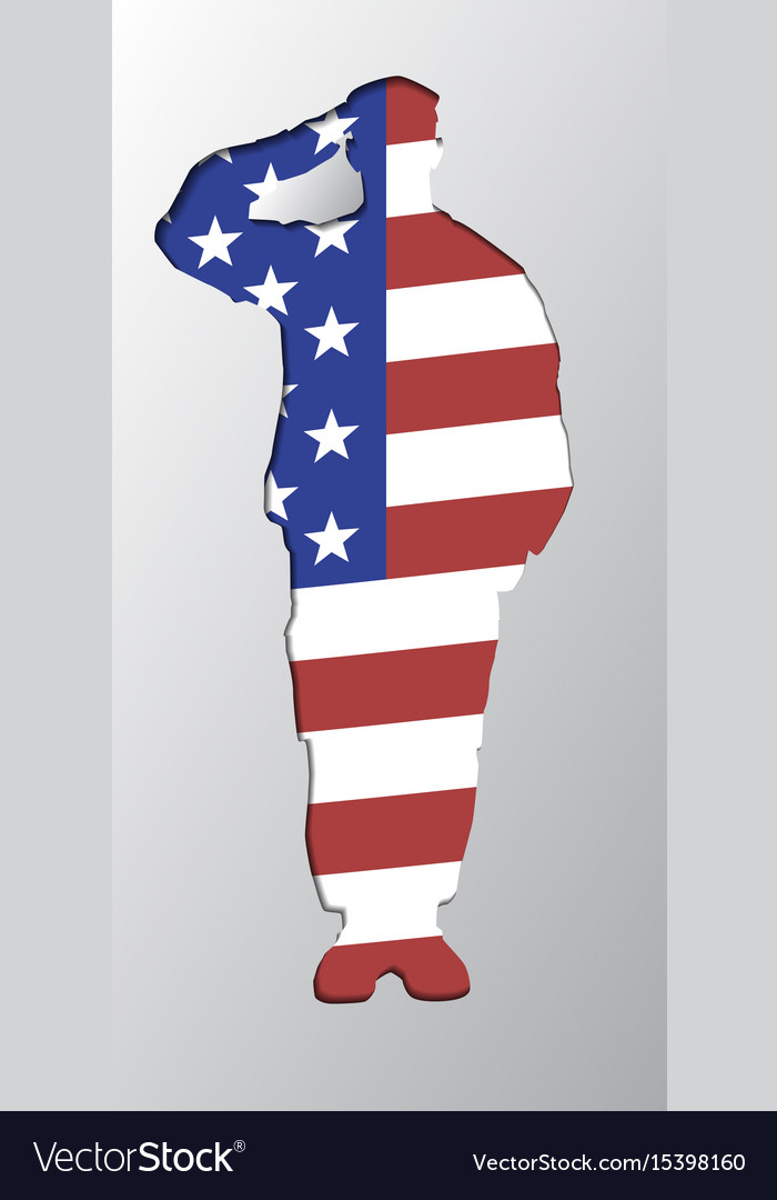 The silhouette of a soldier saluting united vector image