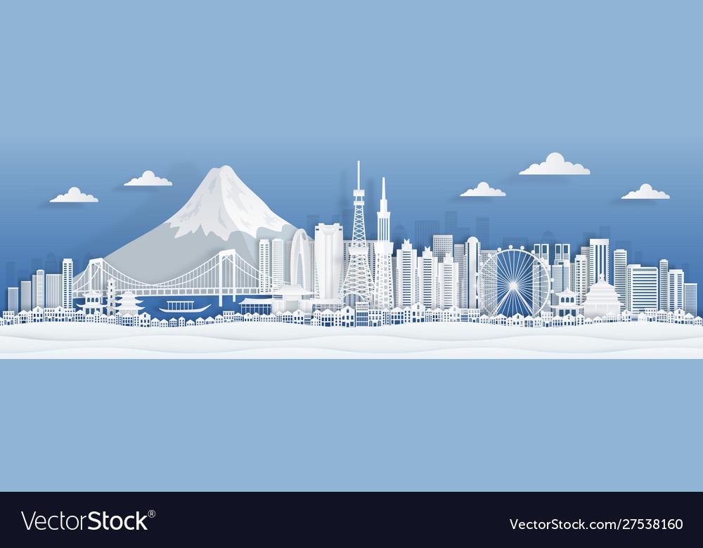 Tokyo paper cut japan city skyline panorama