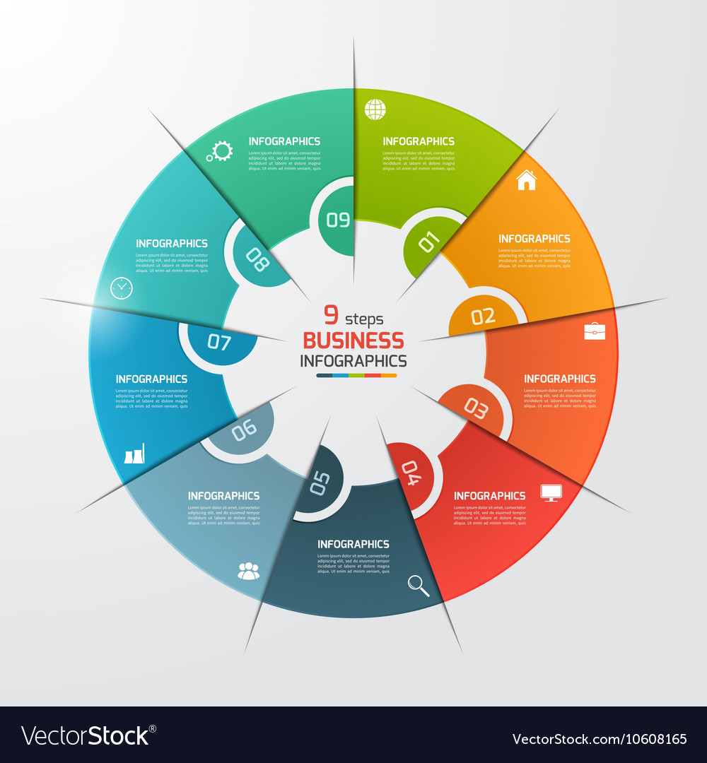 9 options pie chart circle infographic template vector image ccuart Choice Image