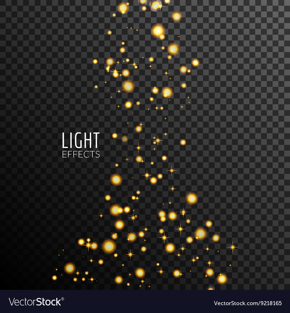 Abstract sparkles on dark transparent background