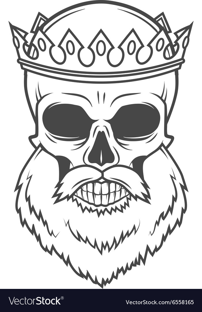 Bearded Skull King with Crown design