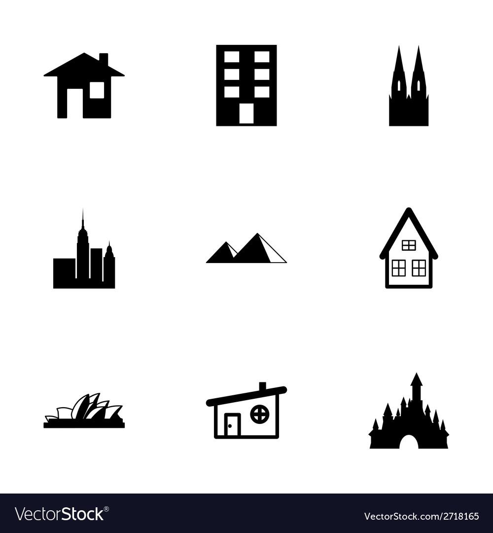 Black buildings icons set