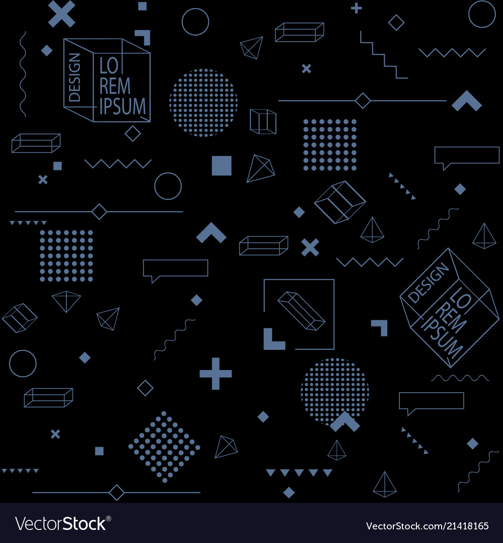 Black trendy seamless background of geometric