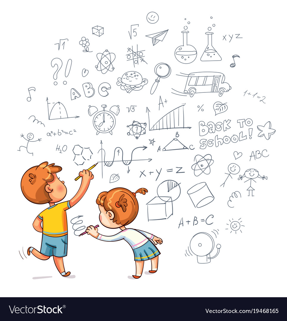 Boy And Girl Draw A Doodle On The Wall Royalty Free Vector