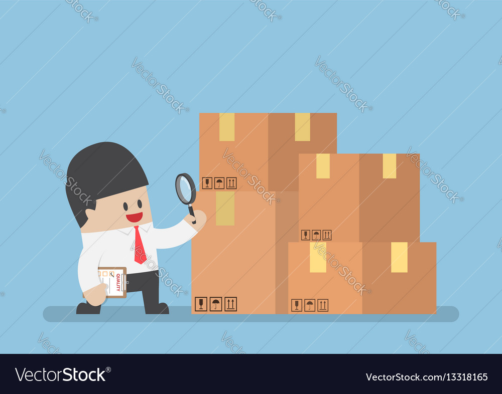 Businessman checking parcel box by magnifying vector image