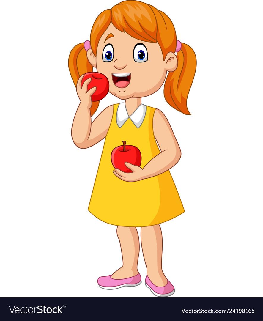 Cartoon Little Girl Eating Apples
