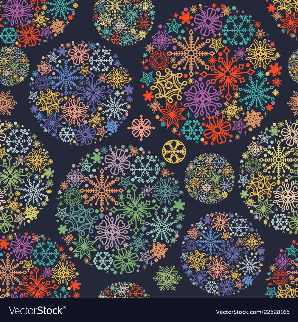 Christmas pattern colorful snowflakes in round