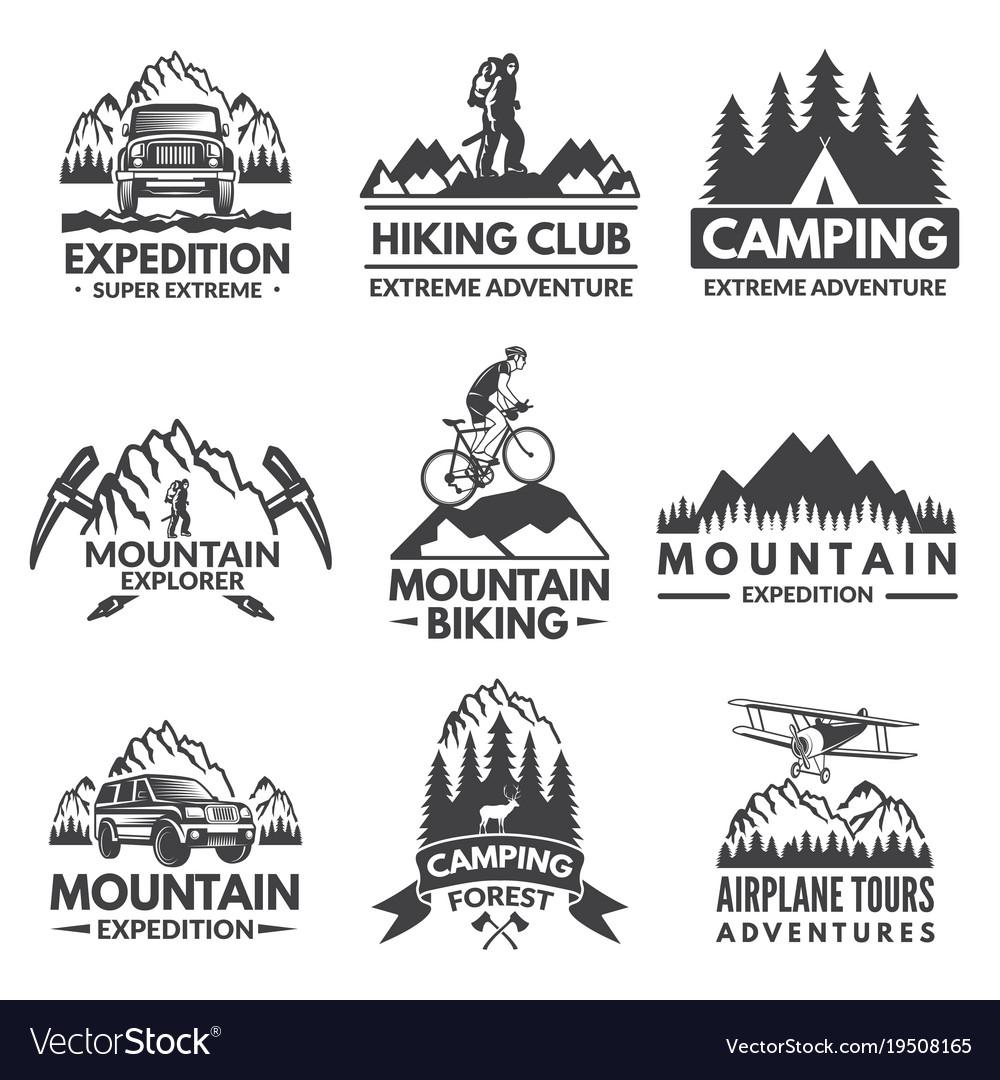 Explorer labels set travel pictures