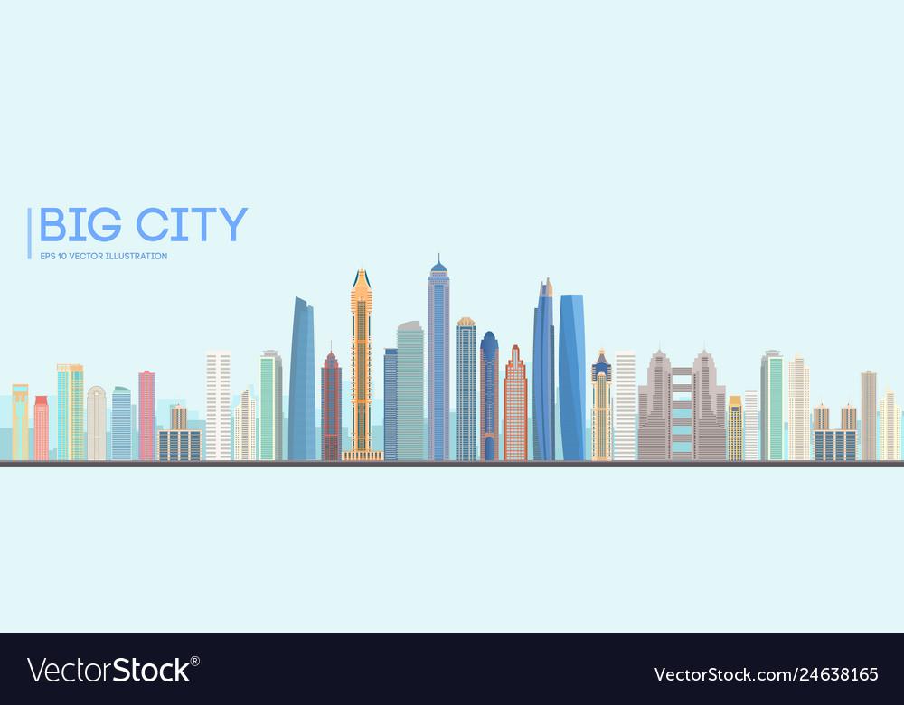 Flat city building design urban skyline