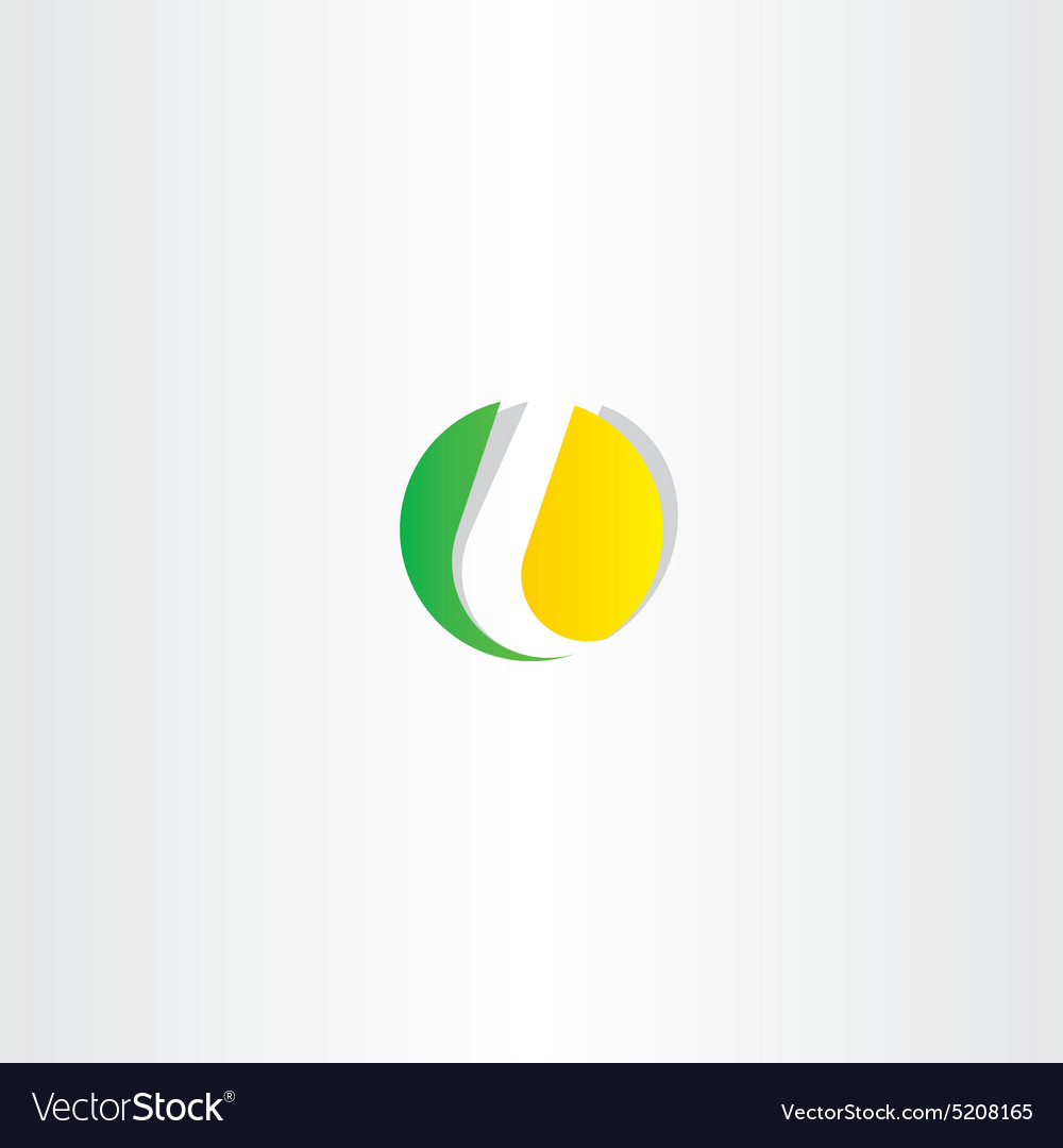 Letter l yellow green circle symbol