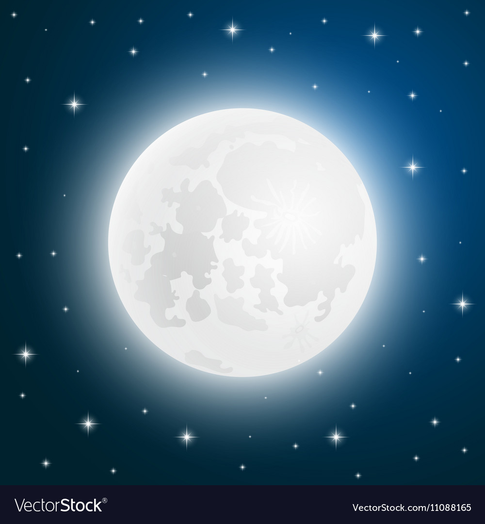 Moon with shining stars sky vector image
