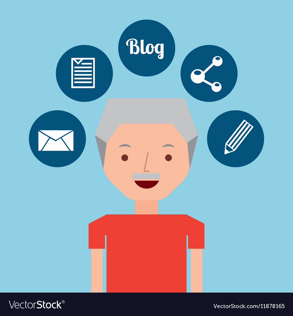 Old man standing with social network icon vector image
