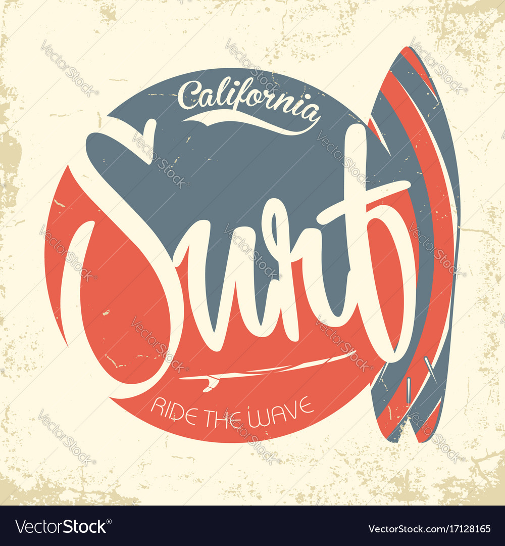 Surfing california typography vintage t-shirt