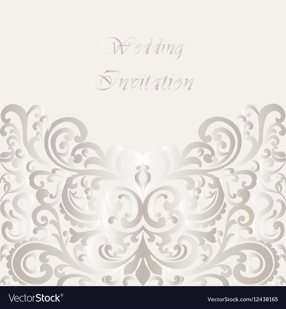 Wedding invitation card with lace shinny ornament vector image stopboris Image collections