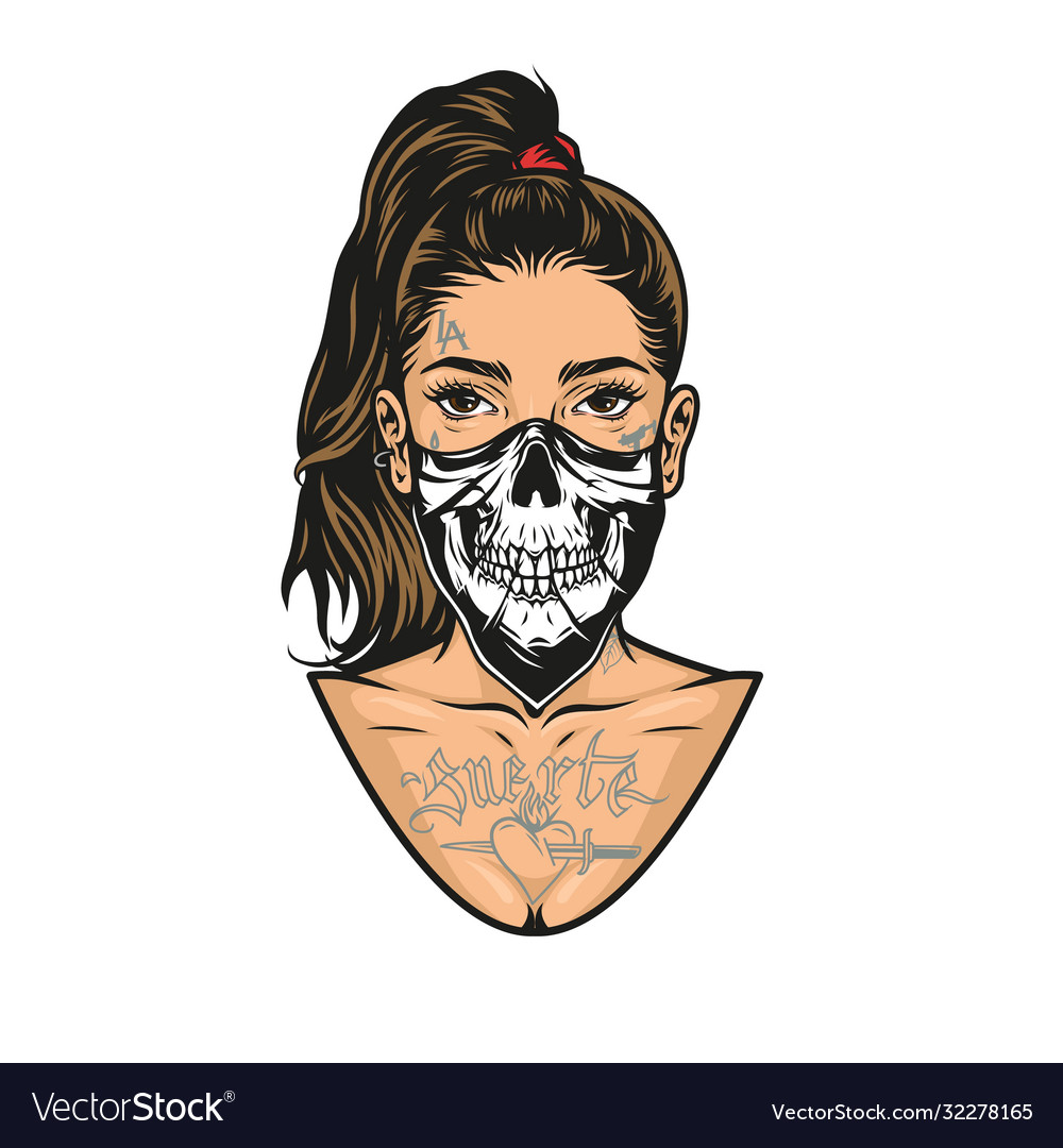 Woman with tattoos scary mask