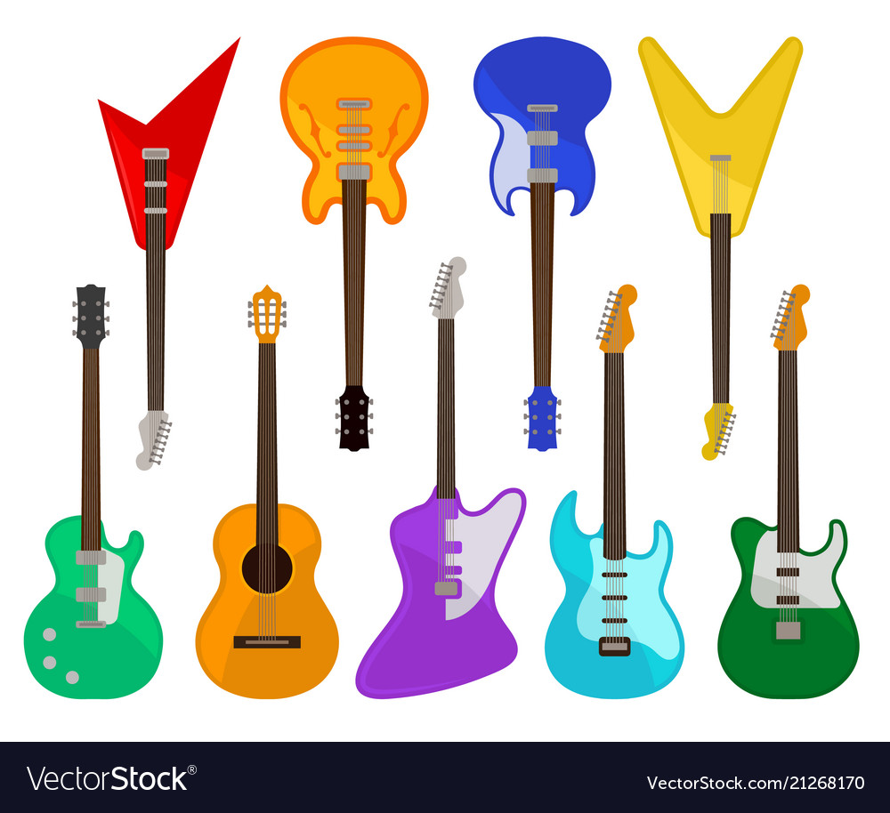 Acoustic and electric guitars set musical