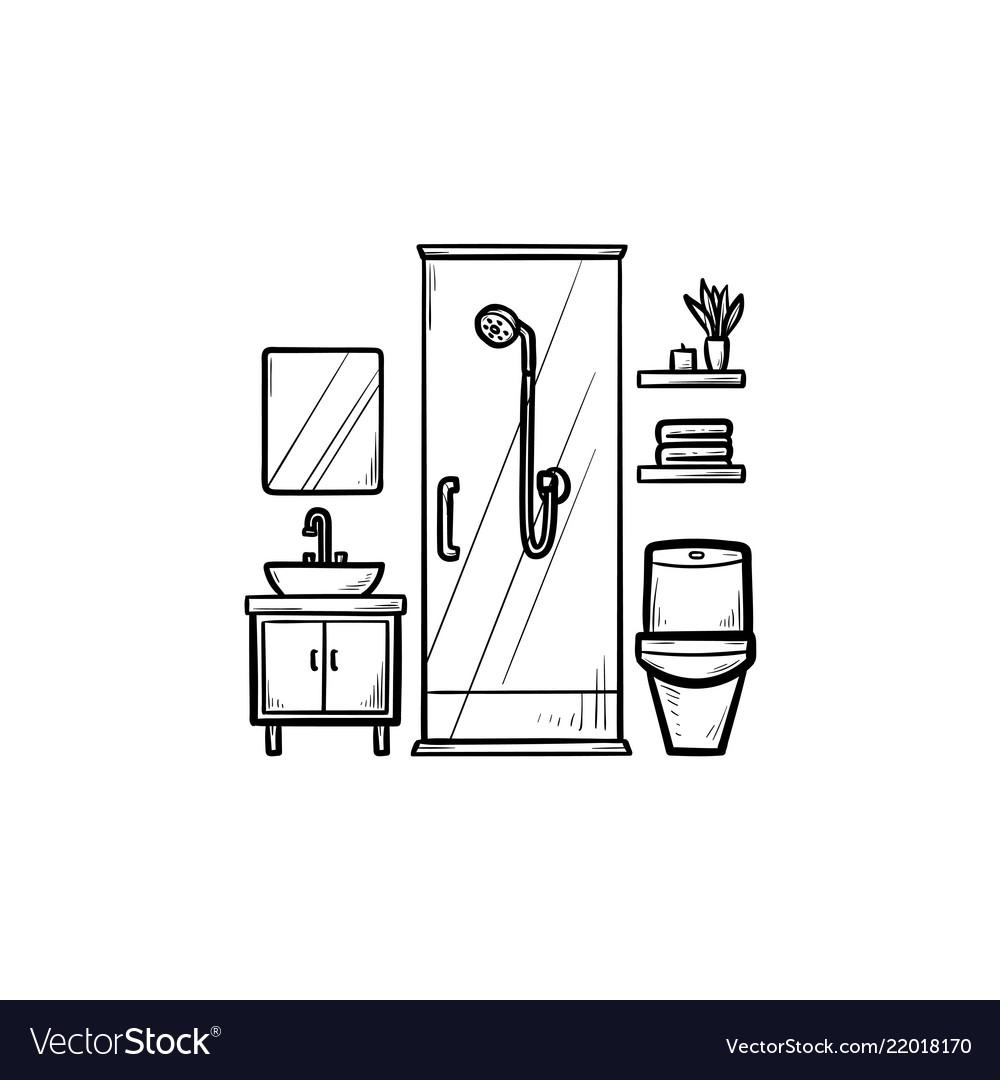 Bathroom hand drawn outline doodle icon
