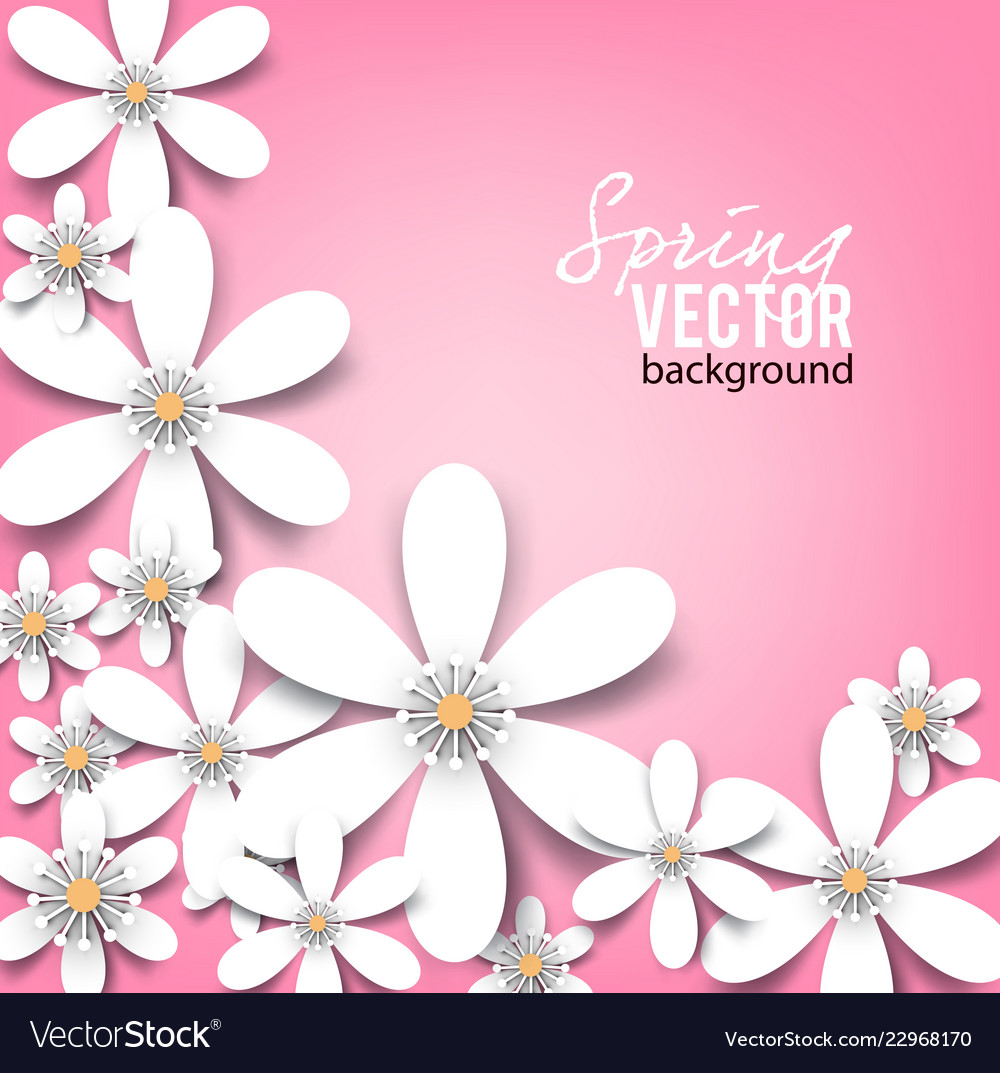 Beautiful background with white spring flowers