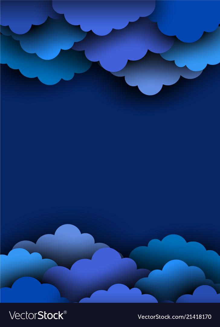 Blue paper cut clouds on dark background