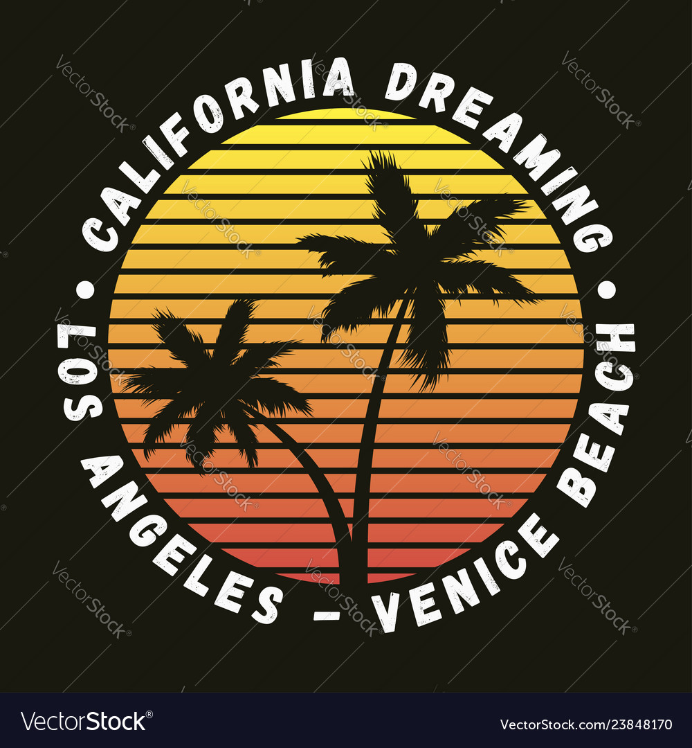 California los angeles venice beach - t-shirt Vector Image