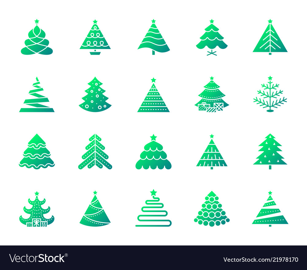Christmas tree simple gradient icons set