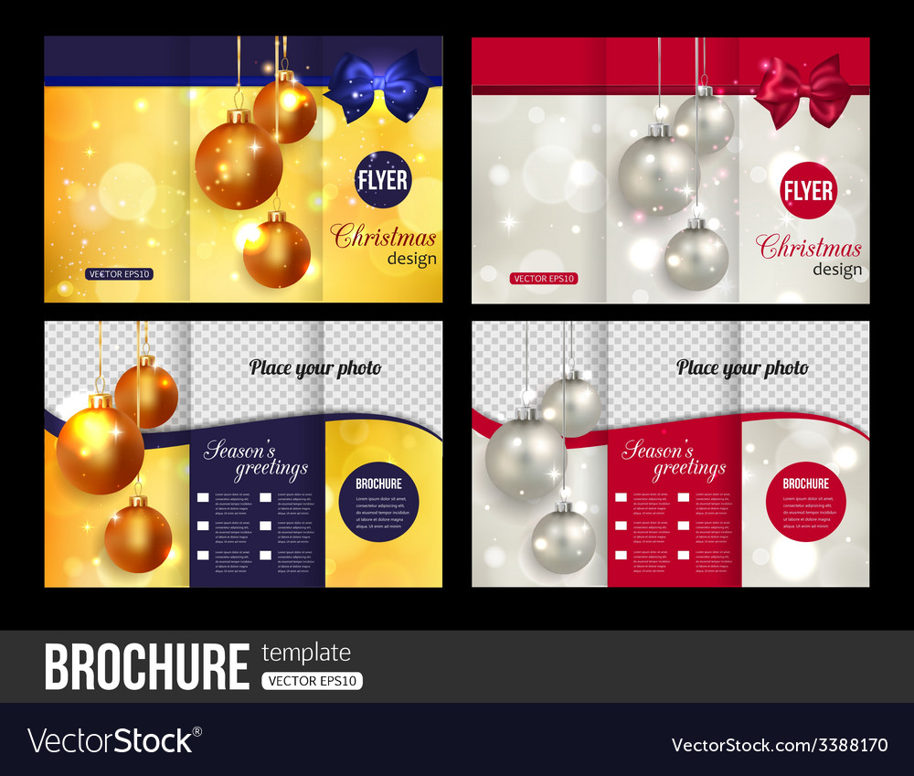 christmas trifold brochure templates abstract vector image