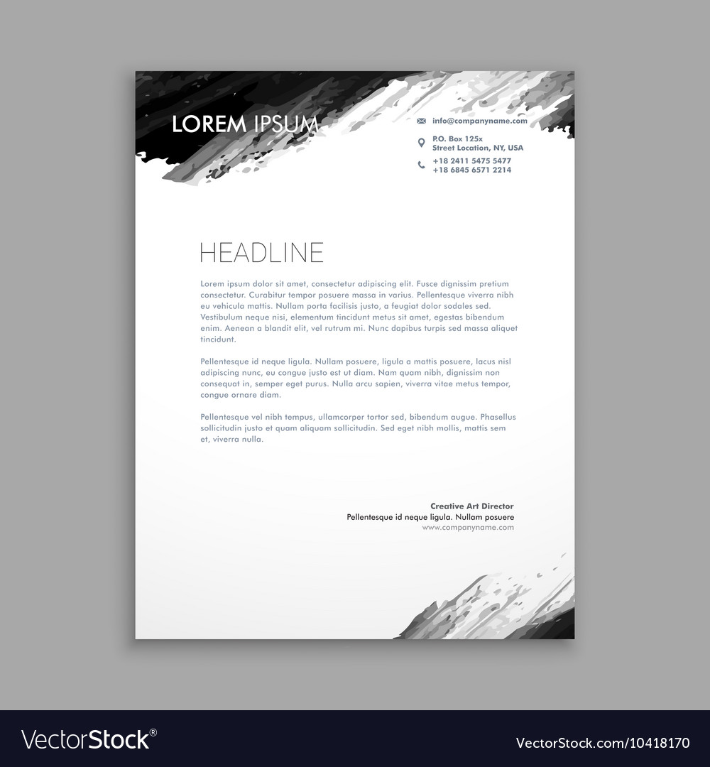 letter on letterhead creative black ink letterhead design royalty free vector 23106 | creative black ink letterhead design vector 10418170
