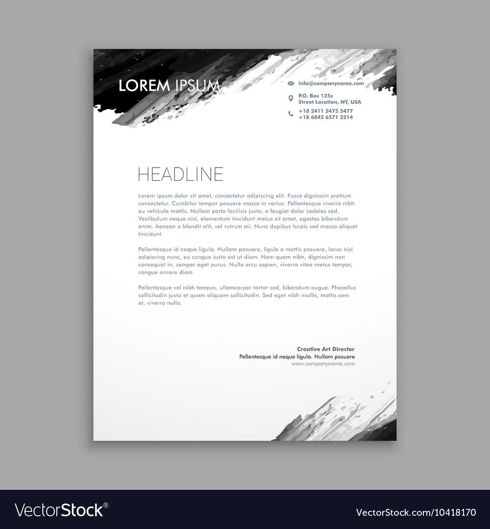creative black ink letterhead design royalty free vector