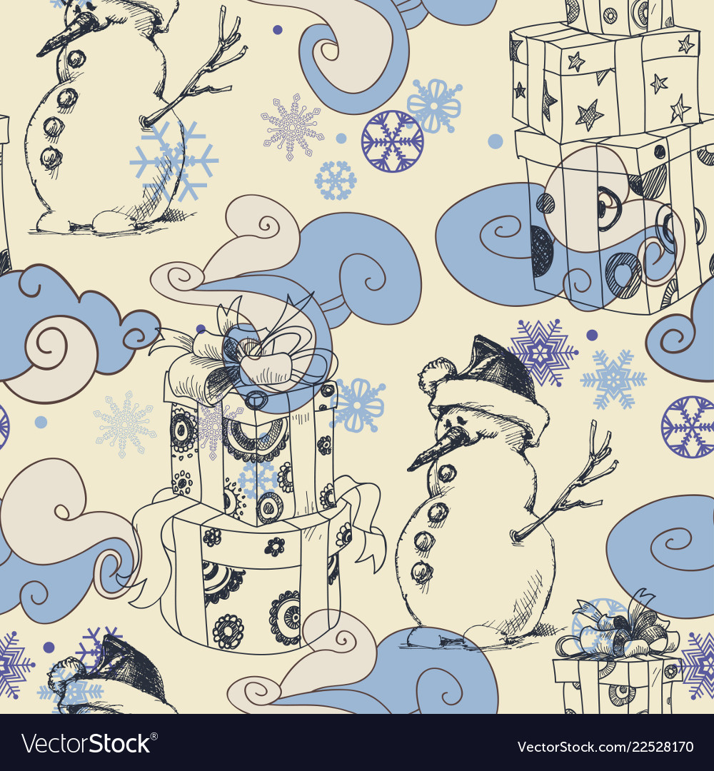 Cute christmas seamless pattern clouds and snow