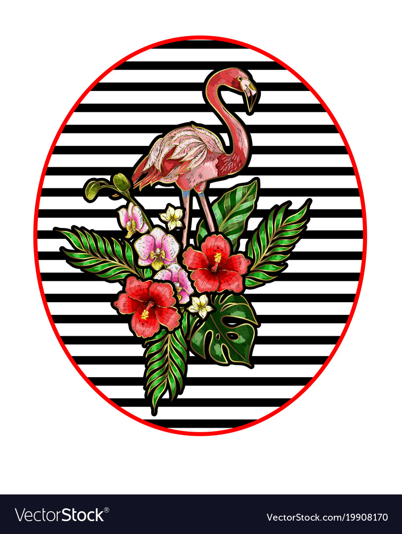 Flamingo embroidery patches vector image