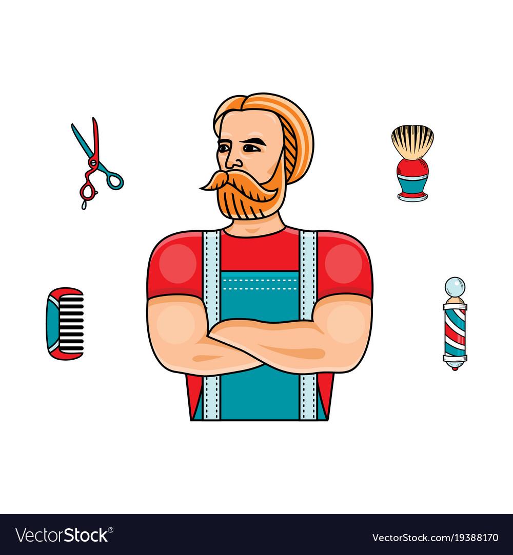 Hipster man barber shop symbols set