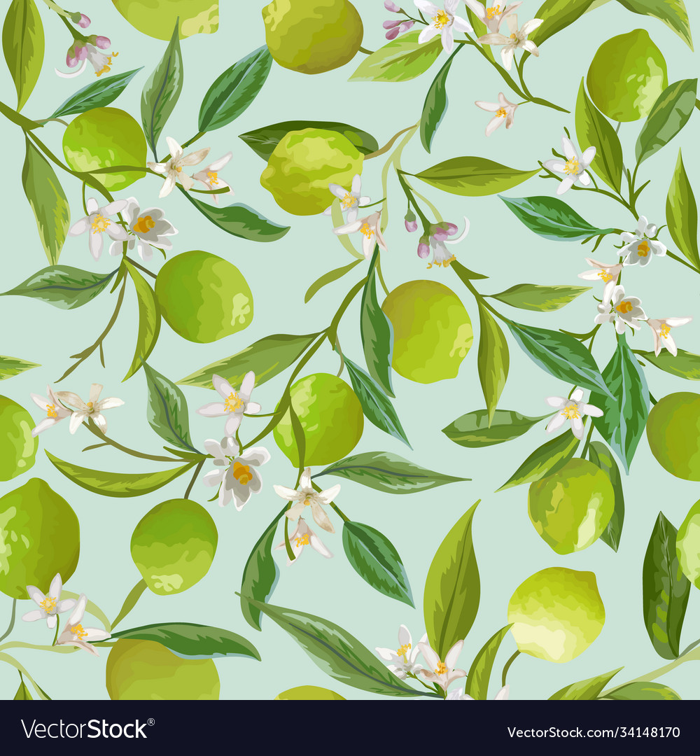 Lime floral background seamless fruit