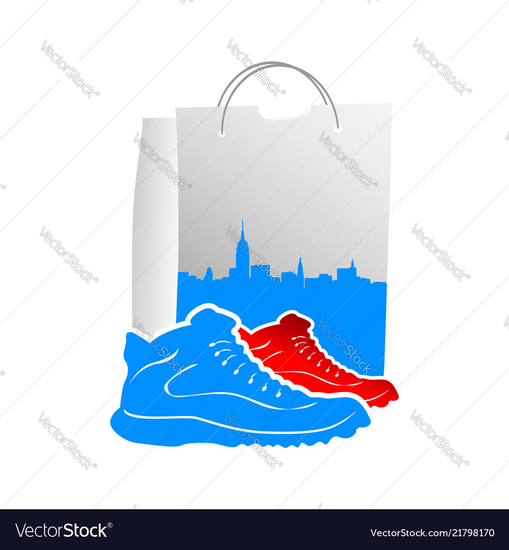 Male shoes with design shopping bags