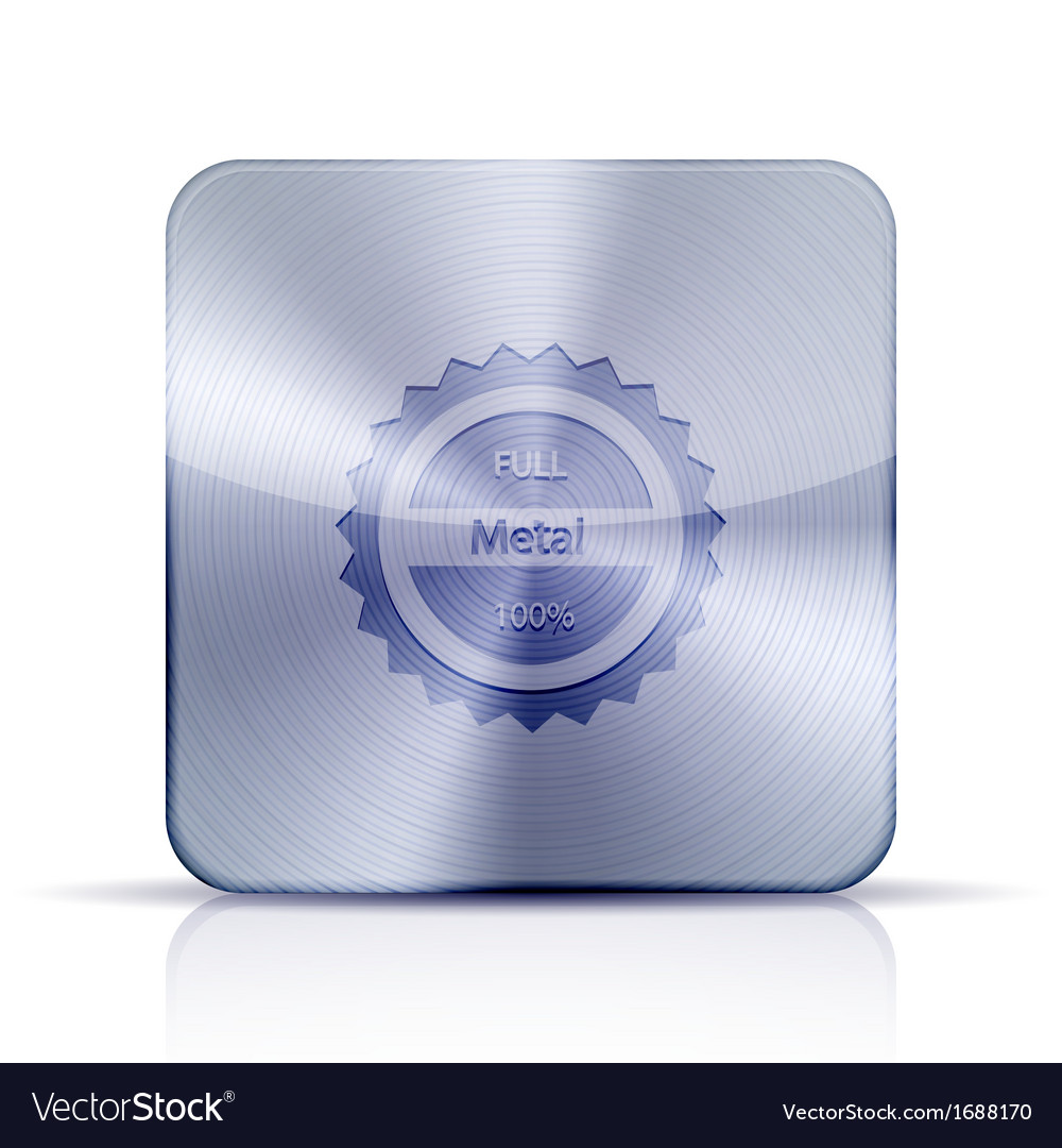 Metal app icon on white background Eps10